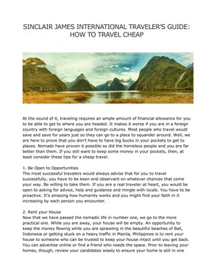 SINCLAIR JAMES INTERNATIONAL TRAVELER'S GUIDE: HOW TO TRAVEL CHEAP