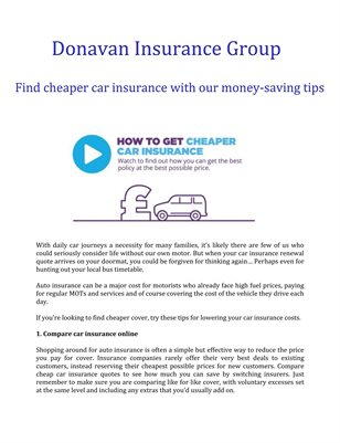 Donavan Insurance Group: Find cheaper car insurance with our money-saving tips
