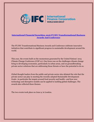 International Financial Securities: 2016 FT/IFC Transformational Business Awards And Conference