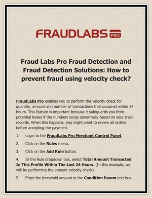 Fraud Labs Pro Fraud Detection and Fraud Detection Solutions: How to prevent fraud using velocity check?