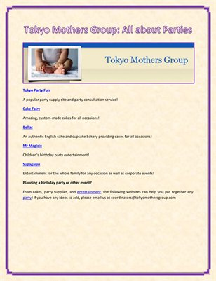 Tokyo Mothers Group: All about Parties