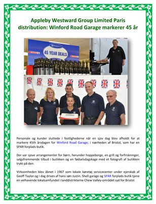 Appleby Westward Group Limited Paris Distribution: Winford Road Garage markerer 45 år