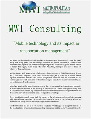 MWI: Mobile technology and its impact in transportation management