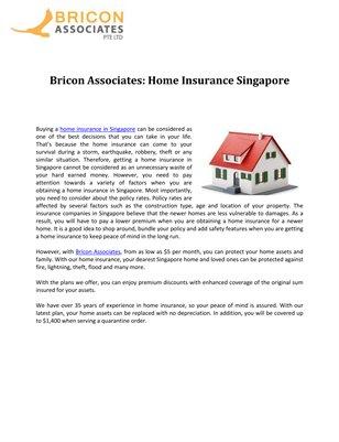 Bricon Associates: Home Insurance Singapore