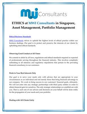ETHICS at MWI Consultants in Singapore, Asset Management, Portfolio Management