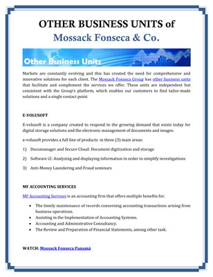 OTHER BUSINESS UNITS of Mossack Fonseca & Co.
