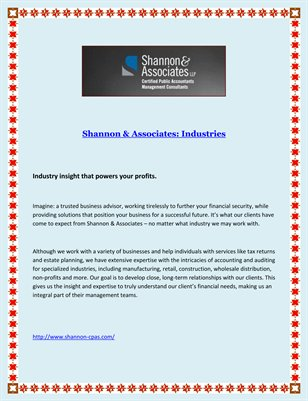 Shannon & Associates: Industries