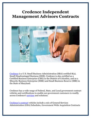Credence Independent Management Advisors Contracts