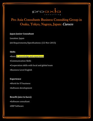 Pro Axia Consultants Business Consulting Group in Osaka, Tokyo, Nagoya, Japan: Careers