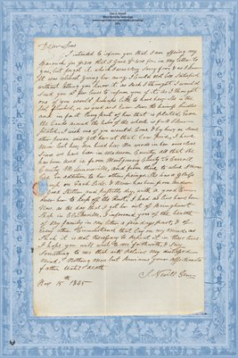 1845 J. Neville Letter to Sons in Moscow, Hickman County, Kentucky