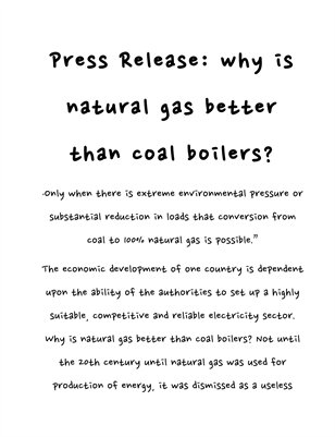 Press Release: why is natural gas better than coal boilers?
