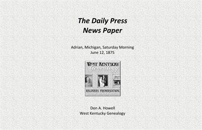 The Daily Press Newspaper Adrian, Mich., June 12 1875