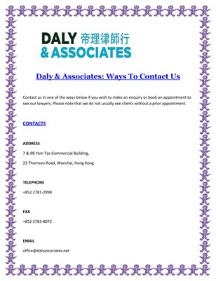 Daly & Associates: Ways To Contact Us
