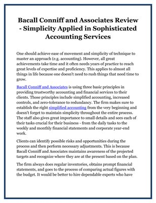 Bacall Conniff and Associates Review - Simplicity Applied in Sophisticated Accounting Services