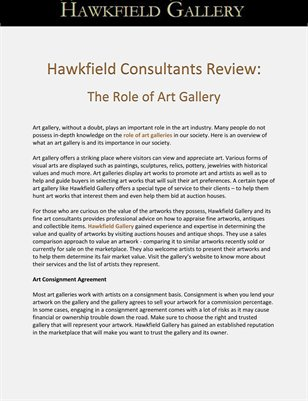 Hawkfield Consultants Review: The Role of Art Gallery