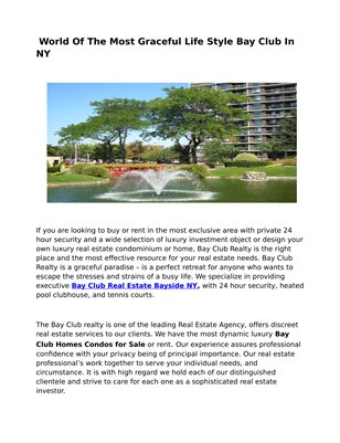 Bay Club Condo Homes for Sale NY