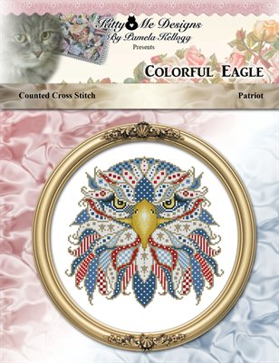 Colorful Eagle Patriot Counted Cross Stitch Pattern