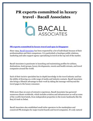 PR experts committed in luxury travel - Bacall Associates
