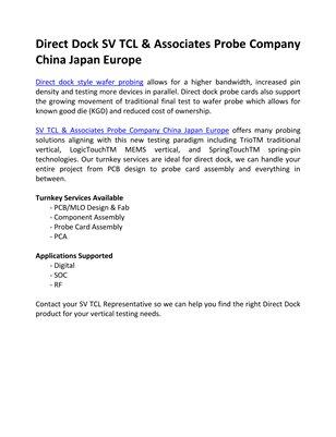 Direct Dock SV TCL & Associates Probe Company China Japan Europe