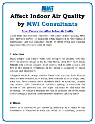 Affect Indoor Air Quality by MWI Consultants