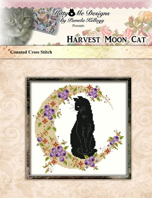 Harvest Moon Cat Cross Stitch Pattern