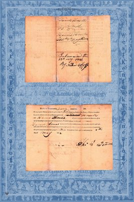 1832 Marriage Certificate, Daniel C. Howell & Harriett Frances Thomas, Maury County, Tennessee