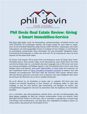 Phil Devin Real Estate Review: Giving a Smart Immobilien-Service