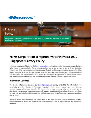 Haws Corporation Tempered Water Nevada USA, Singapore: Privacy Policy