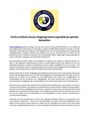 Corliss Institute Group: Dagprogramma Ingesteld op speciale behoeften