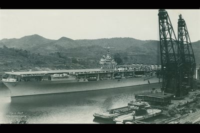 AIR CRAFT CARRIER IN THE PANAMA CANAL