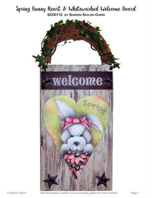 Spring Bunny and White-washed Welcome Board Painting Pattern by Sharon Chinn