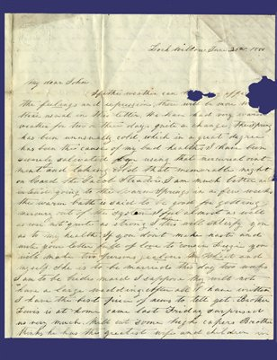 1855 letter to John B. Cochran, Van Dykes Mills, Kentucky from Mag in Churchville VA.