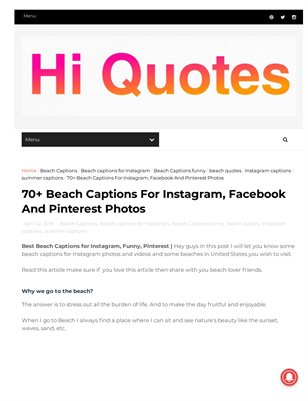 Beach Captions for Instagram and Facebook photos