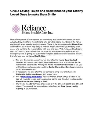 Reliance Home Health Care, Inc.