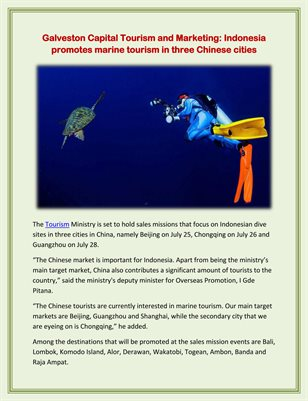 Galveston Capital Tourism and Marketing: Indonesia promotes marine tourism in three Chinese cities