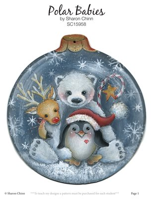 Polar Babies Ornament Painting Pattern - Sharon Chinn SC14958