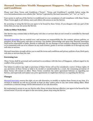 Herrand Associates Wealth Management Singapore, Tokyo Japan: Terms and Conditions