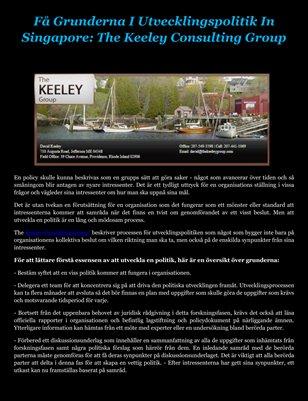 Få Grunderna I Utvecklingspolitik In Singapore: The Keeley Consulting Group
