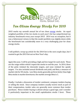 Green Energy Koyal Group Inc: Ten Clean Energy Stocks For 2015