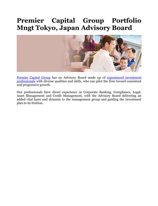 Premier Capital Group Portfolio Mngt Tokyo, Japan Advisory Board