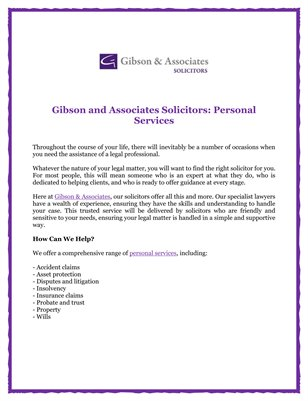 Gibson and Associates Solicitors: Personal Services