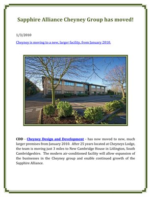 Sapphire Alliance Cheyney Group has moved!