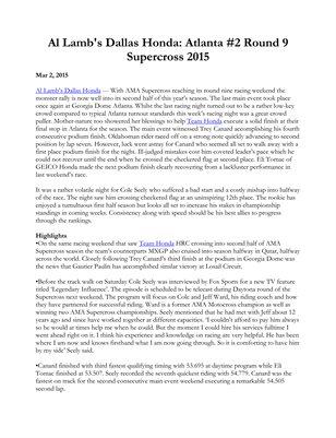 Al Lamb's Dallas Honda: Atlanta #2 Round 9 Supercross 2015
