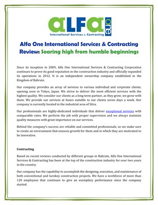 Alfa One International Services & Contracting Review: Soaring high from humble beginnings