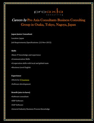 Careers by Pro Axia Consultants Business Consulting Group in Osaka, Tokyo, Nagoya, Japan
