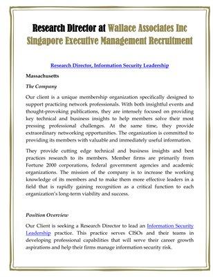 Research Director at Wallace Associates Inc Singapore Executive Management Recruitment