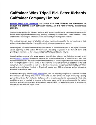 Gulftainer Wins Tripoli Bid, Peter Richards Gulftainer Company Limited
