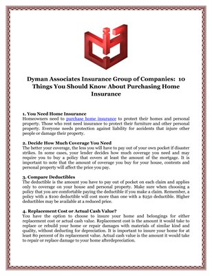 Dyman Associates Insurance Group of Companies:  10 Things You Should Know About Purchasing Home Insurance