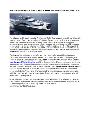 New England Yacht Charter