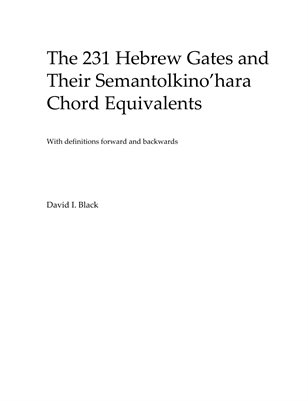 The 231 Hebrew Gates and Their Semantolkino'hara Chord Equivalents